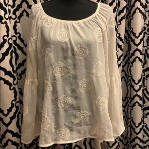 Knox Rose Embroidered Mendala Ivory Sheer Tunic